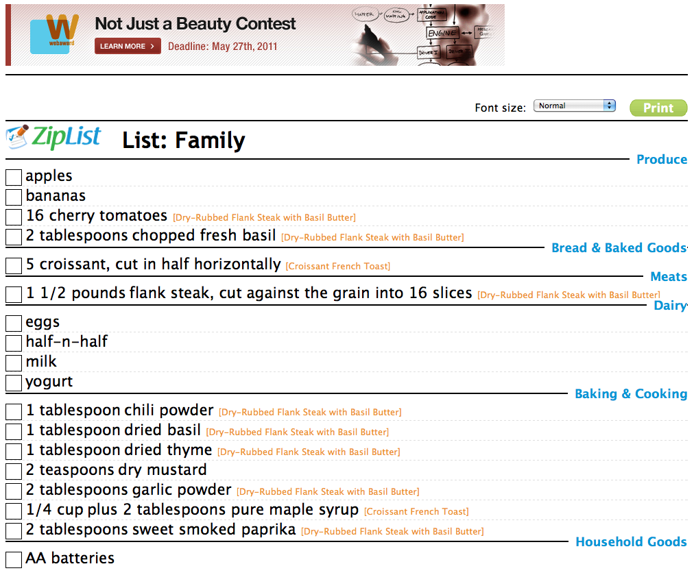 ziplist shopping list