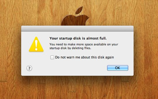 Your startup disk is almost full warning and how to fix it