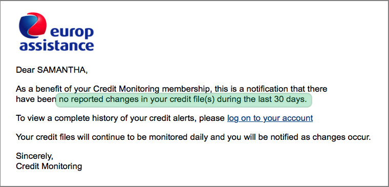 Credit report - MONITORED